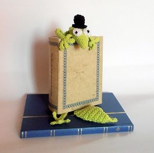 horgolt könyvjelző gekkó